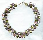 """Pink, mauve & green Keishi cornflake pearl Necklace"" PRL3076"