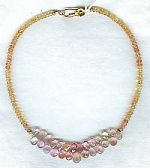 Faceted peach & pink Imperial Topaz rondel necklace CC6046