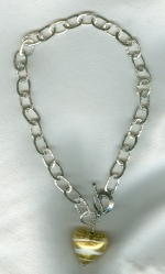 Hammered fine Silver chain and Venetian glass heart necklace VEN4252