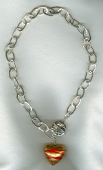 Hammered fine Silver chain and Venetian glass heart necklace VEN4253