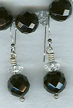 Black Onyx and Quartz Crystal earrings FAC1329