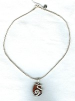 Agate nugget silver wrapped necklace NUG2249