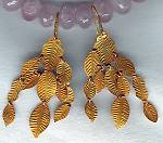18K gold chandelier variegated leaf earrings FAC1491