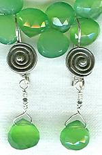 Faceted lime Chalcedony drop earrings FAC1495