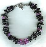 Lavender Chalcedony and Amethyst briolettes with black Onyx necklace NUG2338