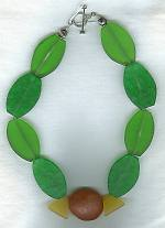 "Lime, rose and lemon Lucite bead necklace"" NUG2348"