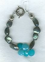 Faceted Labradorite with aqua Chalcedony bracelet FAC1365