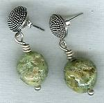 Green Grossular Garnet nugget earrings NUG2260