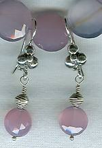 Faceted pink Chalcedony disk Earrings FAC1401