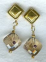 Faceted Ametrine square Earrings FAC1403