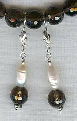 Smokey Quartz and Freshwater Pearl earrings FAC1221