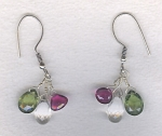 Crystal Quartz, pink Tourmaline and Apatite earrings CC6210