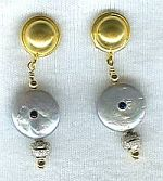 Silver Biwa coin pearl earrings CC6027