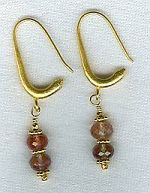 AAA quality faceted Sunstone rondel earrings CC6068