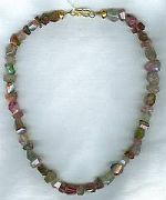 Faceted simple cut watermelon Tourmaline Necklace CC6071