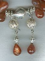 Faceted Sunstone briolette earrings FAC1562