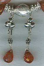 Faceted Sunstone briolette earrings FAC1563