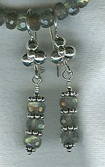 6mm AAA quality faceted Labradorite rondel earrings FAC1738