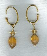 Gem quality matte finish Citrine oval earrings FAC1752