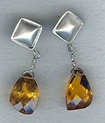 Faceted Citrine nugget earrings CC6150