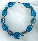 Blue/pink Venetian glass with 24K gold leaf necklace VEN4121