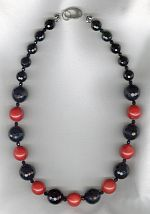 Black Onyx and dyed red Coral necklace FAC8189