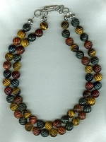 12mm carved black/gold/red Tiger's Eye necklace FAC8030