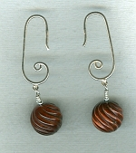 12mm carved red Tiger's Eye round earrings FAC8031
