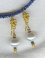 Faceted Sapphire and Pearl earrings FAC1131
