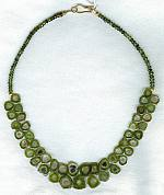 Natural watermelon Tourmaline slices with faceted green tourmaline rondel necklace FAC1584