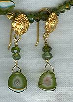 Natural watermelon Tourmaline slices with faceted green tourmaline rondel earrings FAC1585