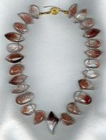 Faceted Lepidochrosite in Quartz drop necklace FAC1799
