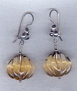 Carved Citrine lotus flower earrings FAC1804