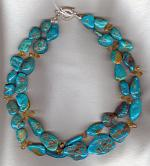Turquoise nuggets with faceted Citrine briolette necklace NUG2551