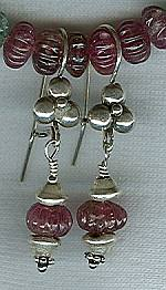 8mm carved pink Tourmaline rondel earrings FAC1583