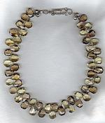 Olive and lemon Quartz drop necklace FAC1792