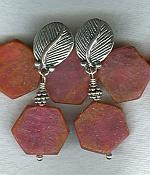Matte finish ruby disk earrings NUG2548