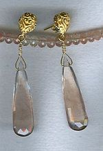 Faceted Oregon Sunstone drop earrings CC6156