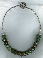 16mm green and black Mojave Desert Turquoise Necklace NUG2420