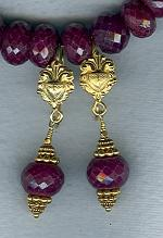 Faceted Ruby rondel earrings FAC1820
