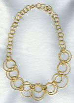 Vermeil hammered ring necklace FAC1957