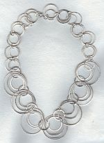 Silver hammered ring necklace FAC1968