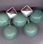 AAA quality 18mm green Moonstone earrings CC6166