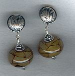 Reconstituted Amber rondel earrings NUG2674
