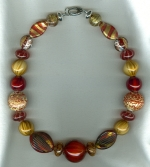 Mustard/cayenne Venetian glass necklace VEN4257