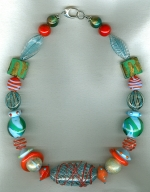 Aqua/coral Venetian glass necklace VEN4261