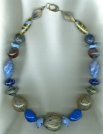 Sky & royal blue Venetian glass necklace VEN4262