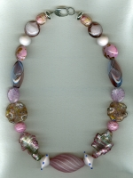 Pink Venetian glass necklace VEN4264