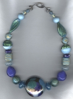 Aqua/cobalt Venetian glass necklace VEN4265