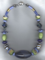 Blue/lime Venetian glass necklace VEN4267